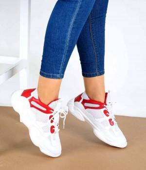 Zoey Beyaz Kırmızı Yüksek Taban Bağcıklı Kadın Spor Ayakkabı
