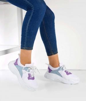 Beyaz Renk Mavi Mor Desenli Kadın Spor Ayakkabı