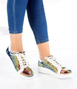 Beyaz Renkli Pullu Bağcıklı Kadın Spor Ayakkabı