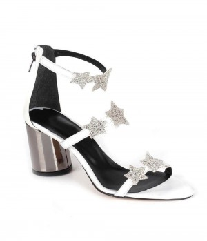Beyaz Saten Taşlı Yıldız İşlemeli Kalın Topuk Fermuarlı Kadın Ayakkabı