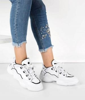 Beyaz Siyah Çizgili Bağcıklı Kadın Spor Ayakkabı