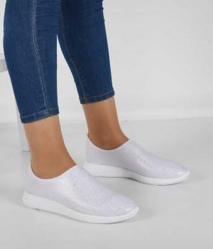 Beyaz Streç Poli Taban Kadın Ayakkabı