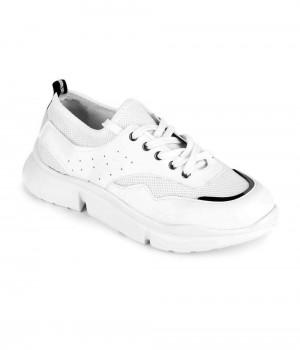 Beyaz Süet Bağcıklı Kadın Spor Ayakkabı