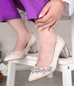 Bolivia Taş İşlemeli Şeffaf Topuk Kadın Ayakkabı