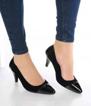 Bonita Siyah Süet Rugan Burun Topuklu Kadın Ayakkabı