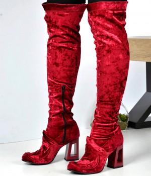 Bordo Kadife Kadın Çizme
