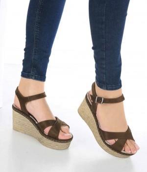 Caterina Haki Süet Bilek Bağlı Dolgu Topuk Kadın Sandalet