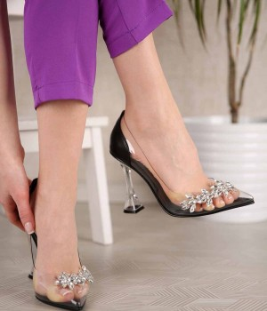 Cinderella Taş İşlemeli Şeffaf Topuklu Kadın Ayakkabı