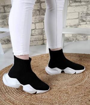 Clarin Siyah Triko Poli Taban Streç Kadın Spor Ayakkabı