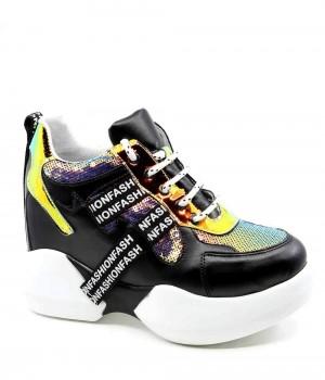 Drake Siyah Hologram Pullu Pump Taban Kadın Spor Ayakkabı