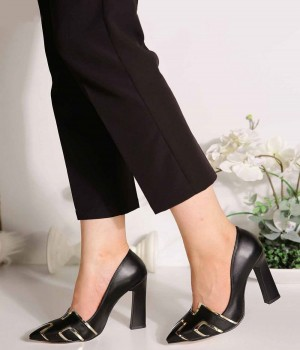Joelle Siyah Cilt Desenli Topuklu Kadın Ayakkabı