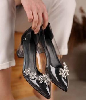 Loree Şeffaf Taş İşlemeli Topuklu Kadın Ayakkabı