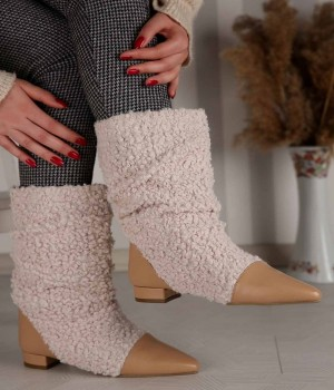Morgana Kürklü Sivri Burun Kısa Kadın Çizme
