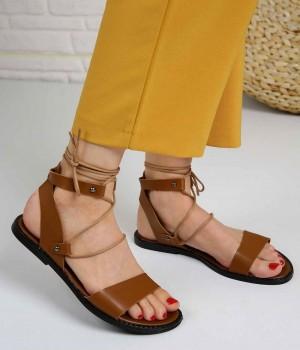 Nodens Taba Cilt Sarma Bağcık Kadın Sandalet