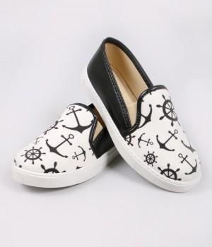 Siyah Denizci Figür Sneaker Kadın Ayakkabı