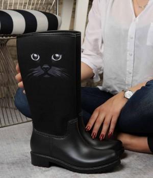 Rainbo Siyah Renk Black Cat Kadın Yağmur Çizme