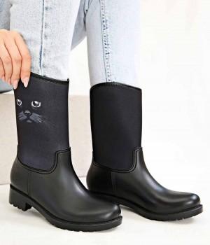 Rainbo Siyah Renk Cat Kadın Yağmur Botu
