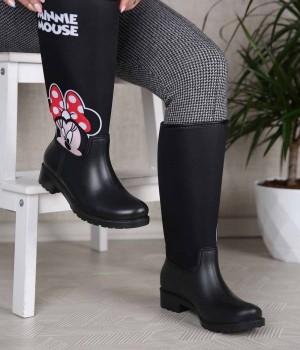 Rainbo Siyah Renk Minnie Mouse Kadın Yağmur Çizme