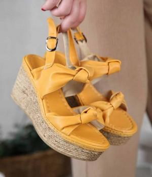 Sharon Düğüm Kemer Dolgu Topuk Kadın Sandalet