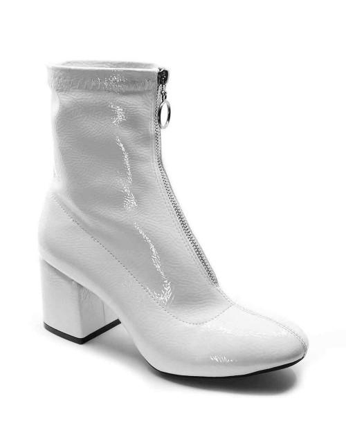 Jagger Beyaz Baskı Rugan Ön Fermuarlı Topuklu Kadın Bot
