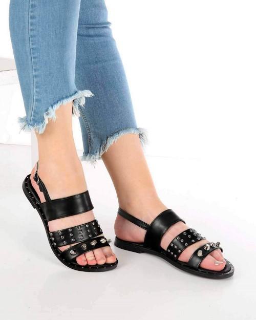 Mitta Siyah Cilt Troklu Kemer Topuk Bağlı Kadın Sandalet