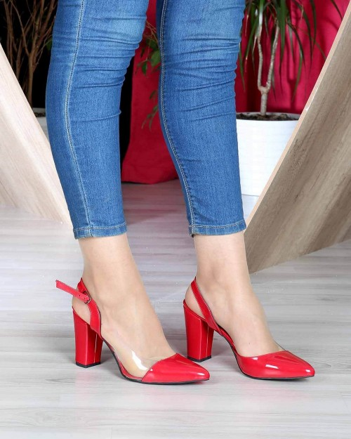 Kırmızı Rugan Şeffaf Kenar Topuktan Bağlı Kadın Ayakkabı