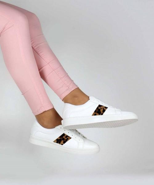 Beyaz Cilt Leopar Desenli Kadın Günlük Ayakkabı