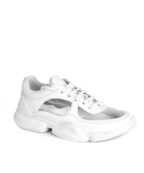f0cc7fb59bb2d Beyaz Cilt Şeffaf Tasarım Bağcıklı Kadın Spor Ayakkabı