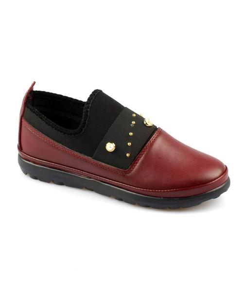 Bordo Renk İnci Taş Süsleme Likralı Bayan Günlük Ayakkabı