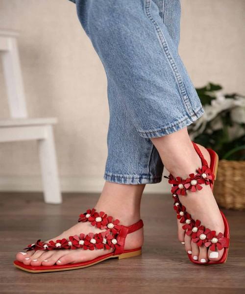 Jolina Lastikli Çiçek Kemer Kadın Sandalet