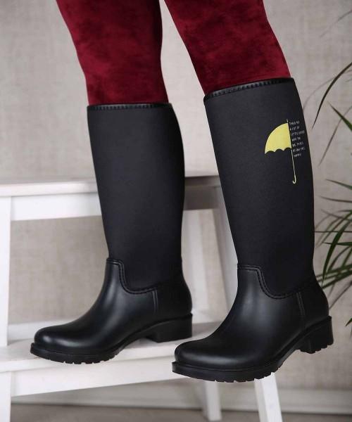 Rainbo Siyah Renk Umburella Kadın Yağmur Bot